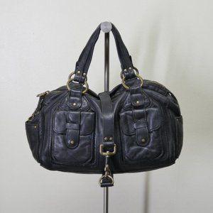 Linea Pelle Bags - Linea Pelle Pebbled Blk Leather Satchel